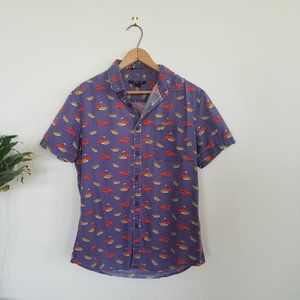 Lobster Fries Graphic Button Down top